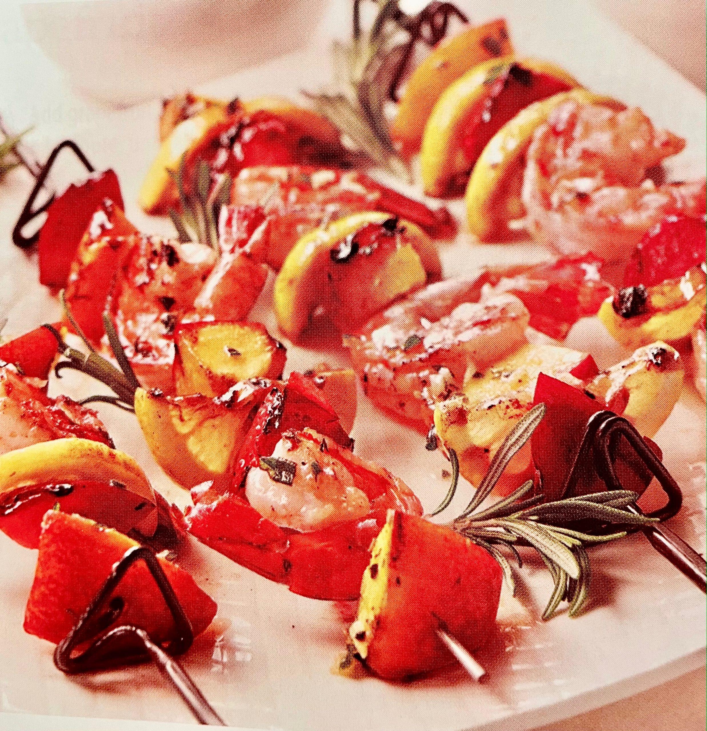 Shrimp and Summer Fruit Kabobs